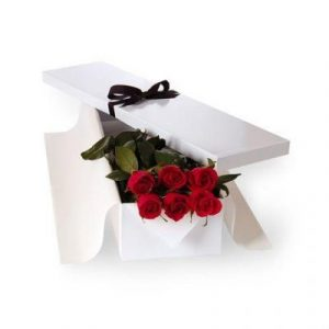 Online 6 red roses in white box Melbourne