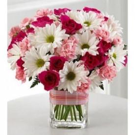 Sweet Bliss Mix Flowers Vase