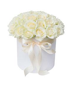 Round Box White Roses