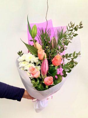 Beautiful Spirit Bouquet of Roses, Oriental lily, Chrysanthemum, Emu Grass, and Gum