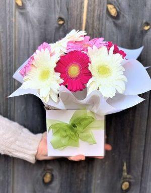 Send Pink & White Gerberas Box Arrangement Online