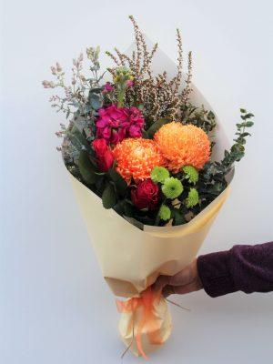 Little Zesty Bouquet of Stock, Roses, Disbud & Chrysanthemum