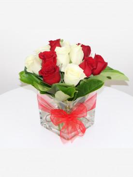 12 Roses in Square Vase