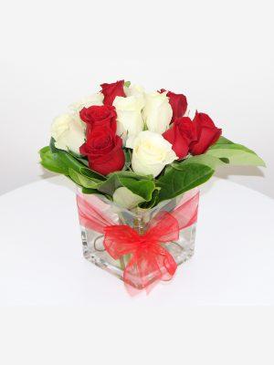 Send 12 Roses in Square Vase Online Melbourne