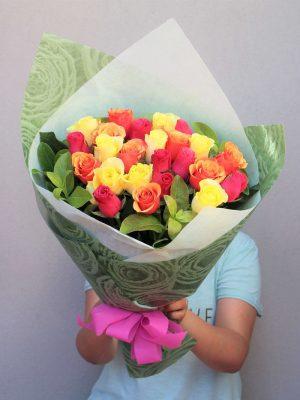 Order Online 24 Mix Roses Bouquet