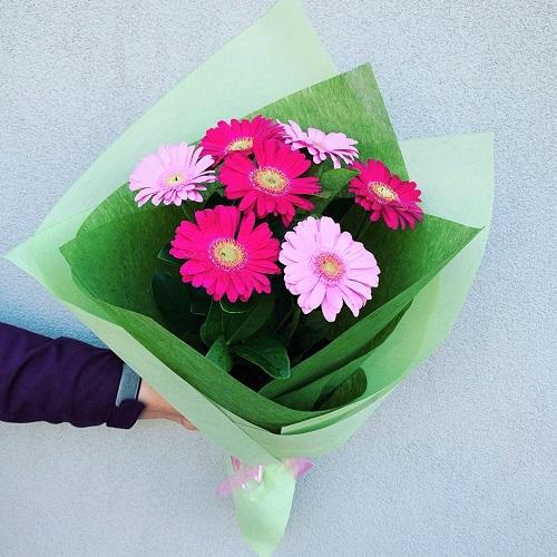 Gerbera light and hot pink bouquet