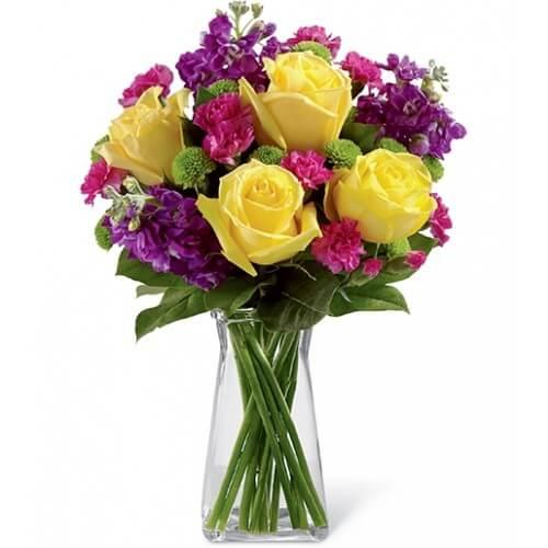 Order Yellow Roses Vase Arrangement Melbourne