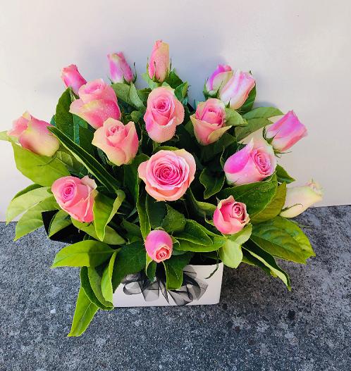 Pink Roses Box Arrangement