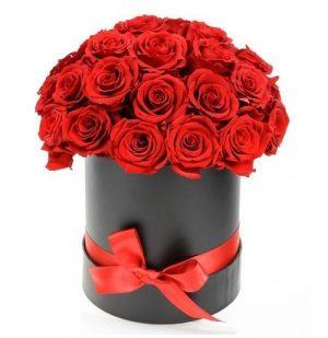Red Rose Black Hat Box