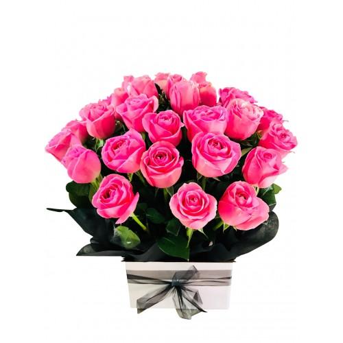 Pink Roses Box Arrangement for Anniversary