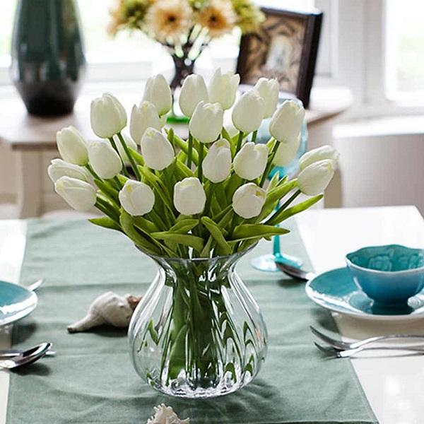 White Tulips Jar Arrangements for Congratulations Delivery Melbourne