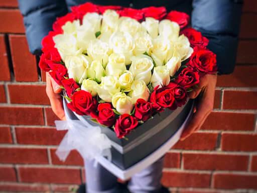 Heart Shape Valentine Box Mix Roses Arrangement Melbourne