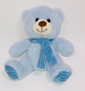 BLUE BEAR WITH SCARF 24CM SITTING