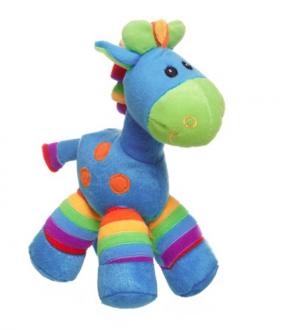 Gerry Giraffe Bright Stripes Aqua Blue