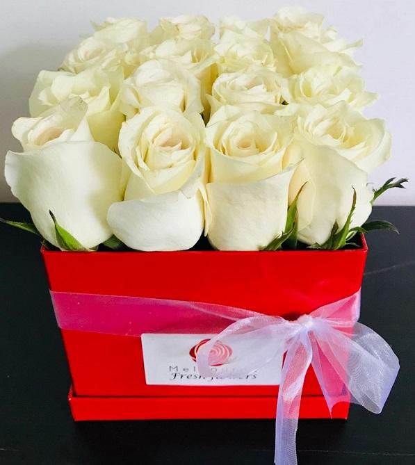 White Rose Box Arrangement Melbourne